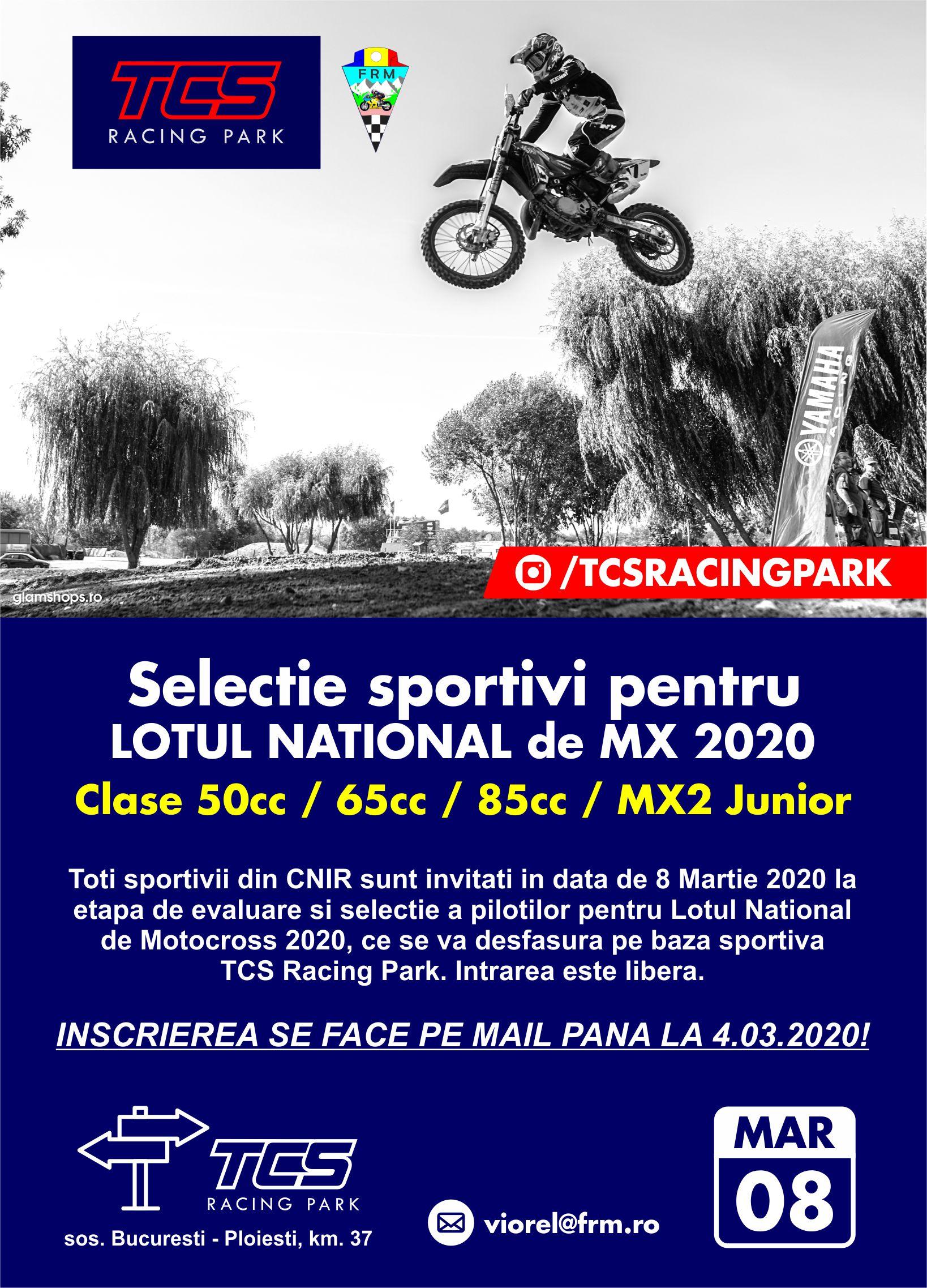 Antrenamentele și selecția pentru lotul național de motocross se fac pe TCS Racing Park